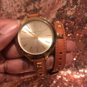 Michael Kors watch tan leather gold studs NWOT